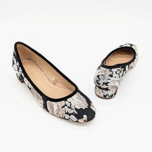 Zara Trafaluc Floral Brocade Fabric Heels Size 7.5